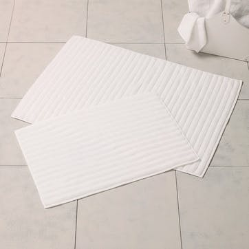 Hydrocotton Ribbed Bath Mat, Medium, White