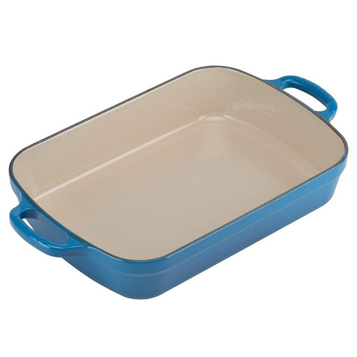 Cast Iron Rectangular Roaster - 33cm; Marseille Blue