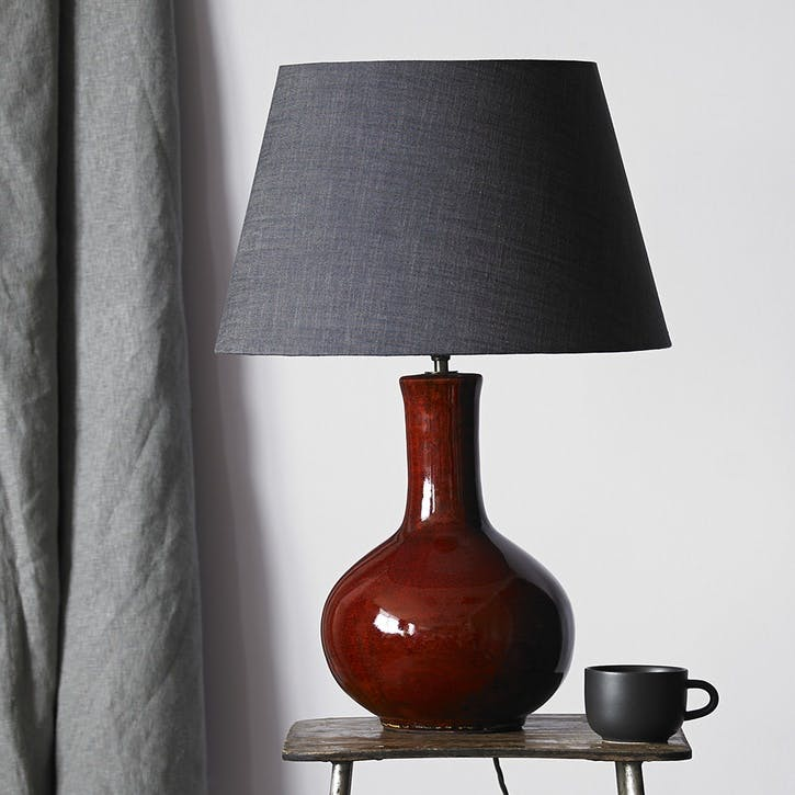 Nellie Table Lamp in an Oxblood Glaze, 34cm