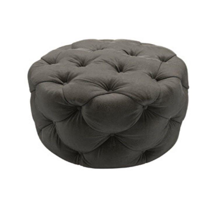 Georgette, Round Footstool, Elephant Cotton Matt Velvet