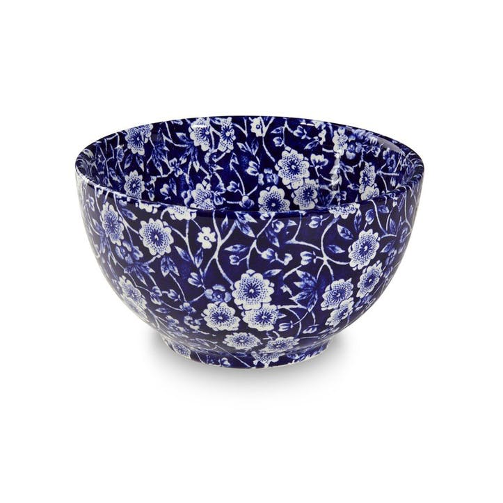 Calico Footed Bowl, Mini, Blue