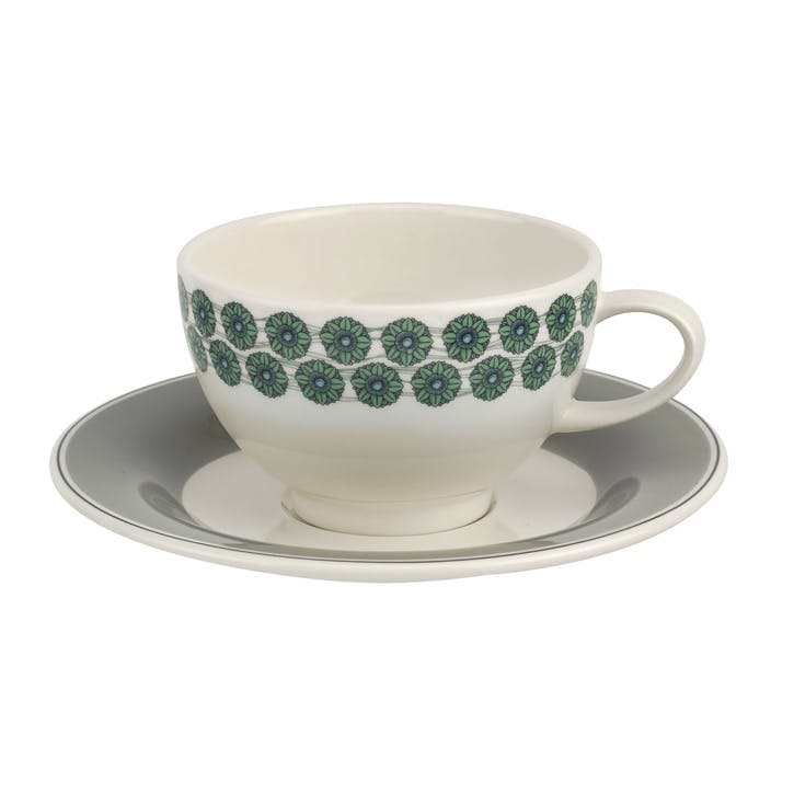 Westerly Tea Cup & Saucer, Set of Four - 8oz; Grey Band