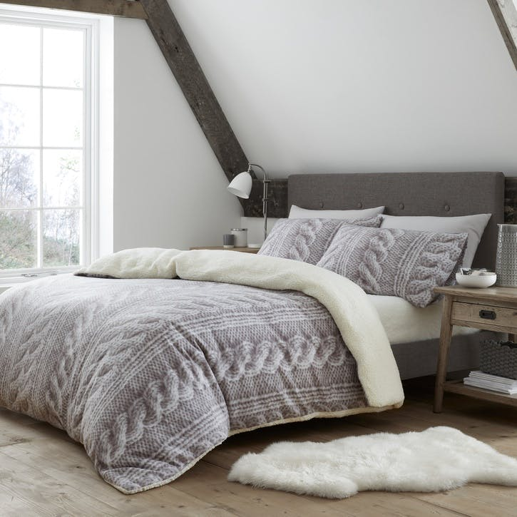 Cable Knit Fleece Double Bedding Set