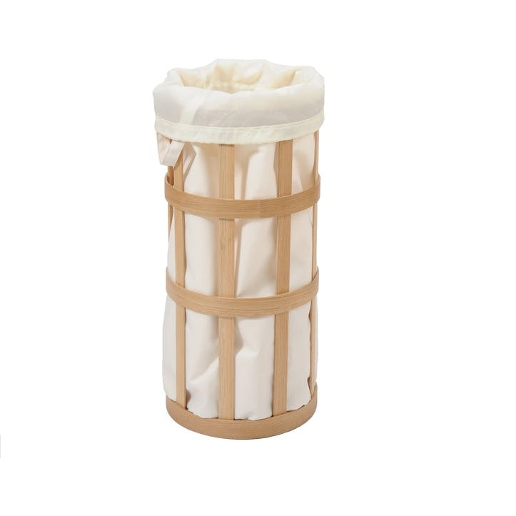 Cage Laundry Basket, Oak/White