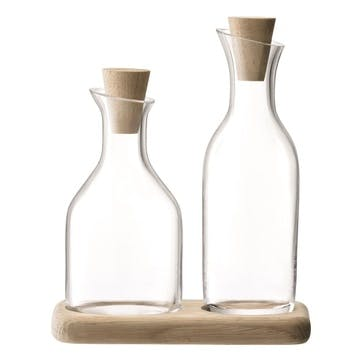 LSA Serve Oil & Vinegar Set & Oak Base