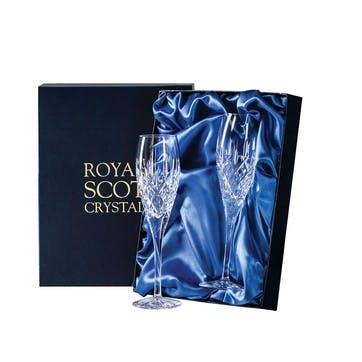 London Crystal Champagne Flutes, Set of 2