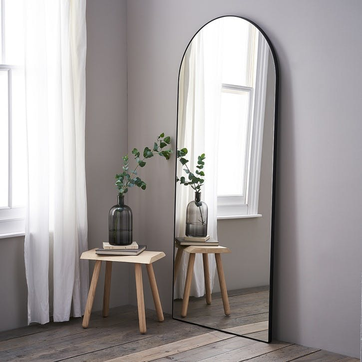 Chiltern Thin Metal Arch Mirror, Black