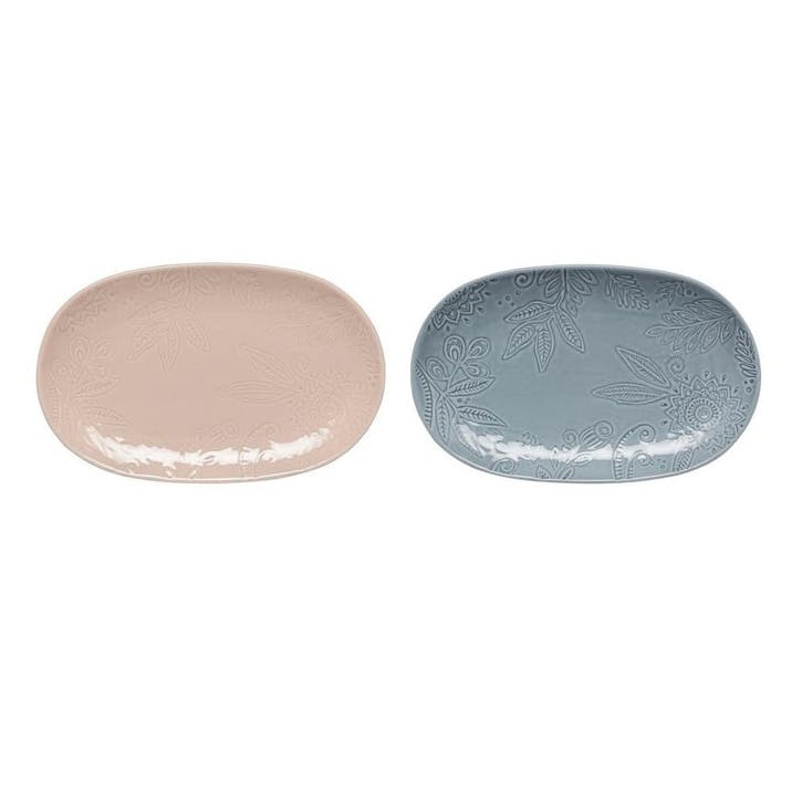 Gather Small Platters, Set of 2, Blue/ Pink