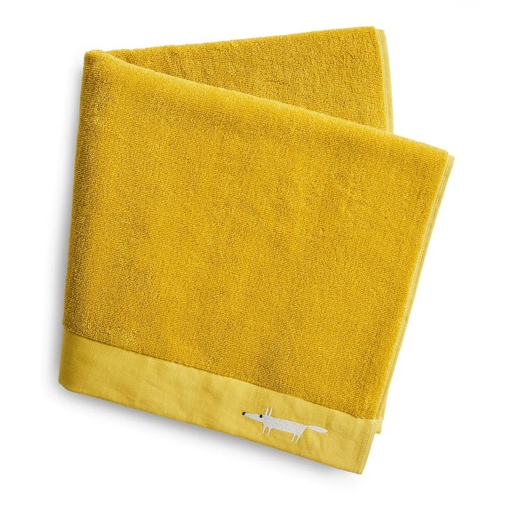 Mr Fox Embroidered Hand Towel, Citrus
