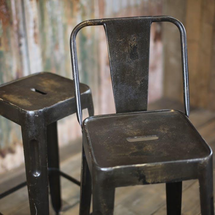 Chari Bar Chair; Distressed Black