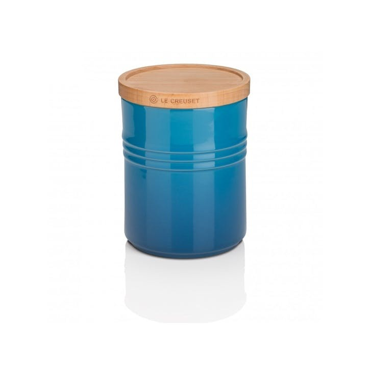 Stoneware Storage Jar with Wooden Lid - Medium; Marseille Blue