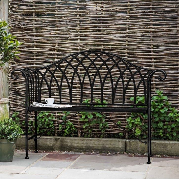 Lazzaro Outdoor Bench, Noir