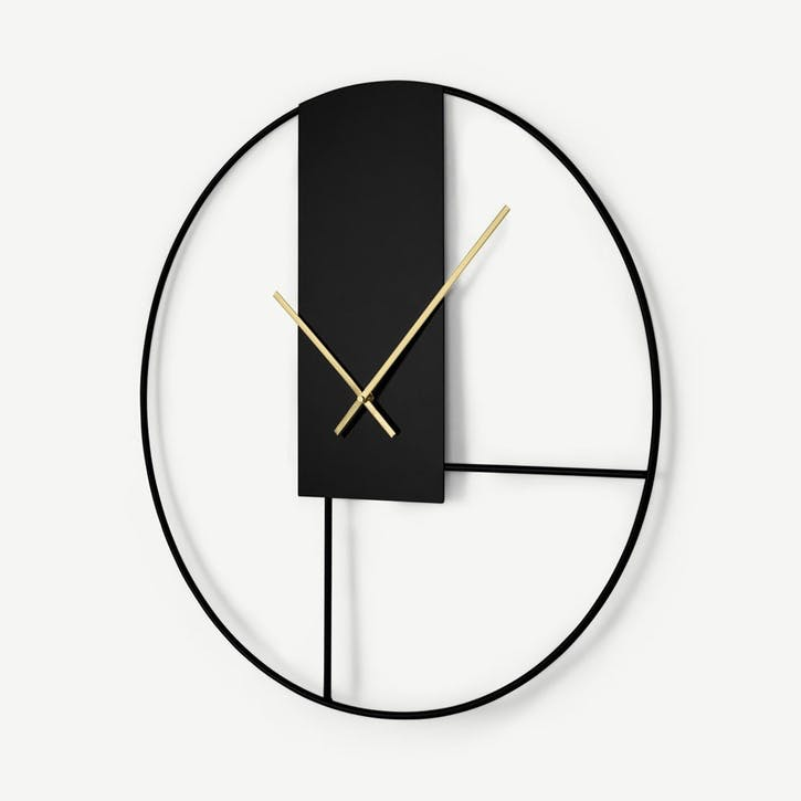 Outline, Wall Clock, Black