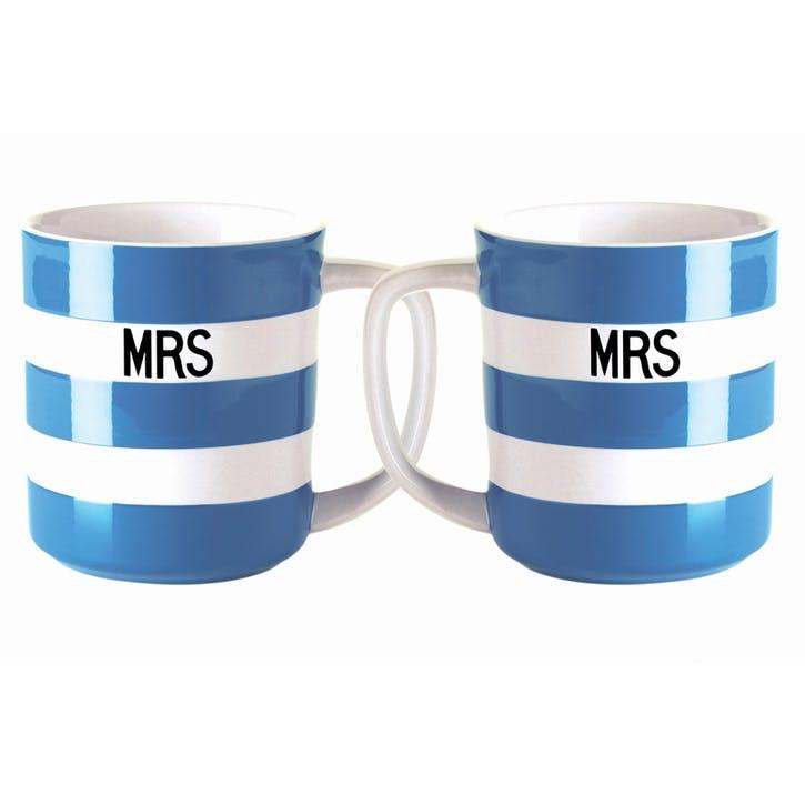 Set of 2 'Mrs & Mrs' Mugs, 10oz/28cl, Blue