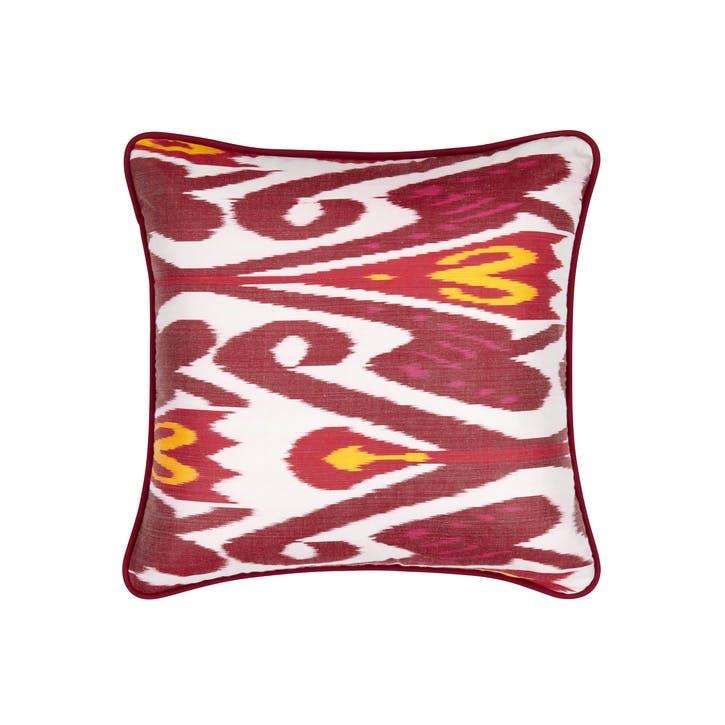 Hematite & Amaranth Silk Ikat Cushion, Square