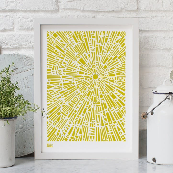 'Morning Light' Geometric Screen Print, A4, Yellow Moss