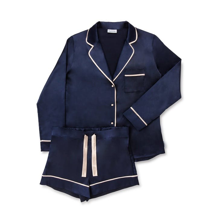 Laze Classic Pyjama Short Set, Medium, Hague Blue