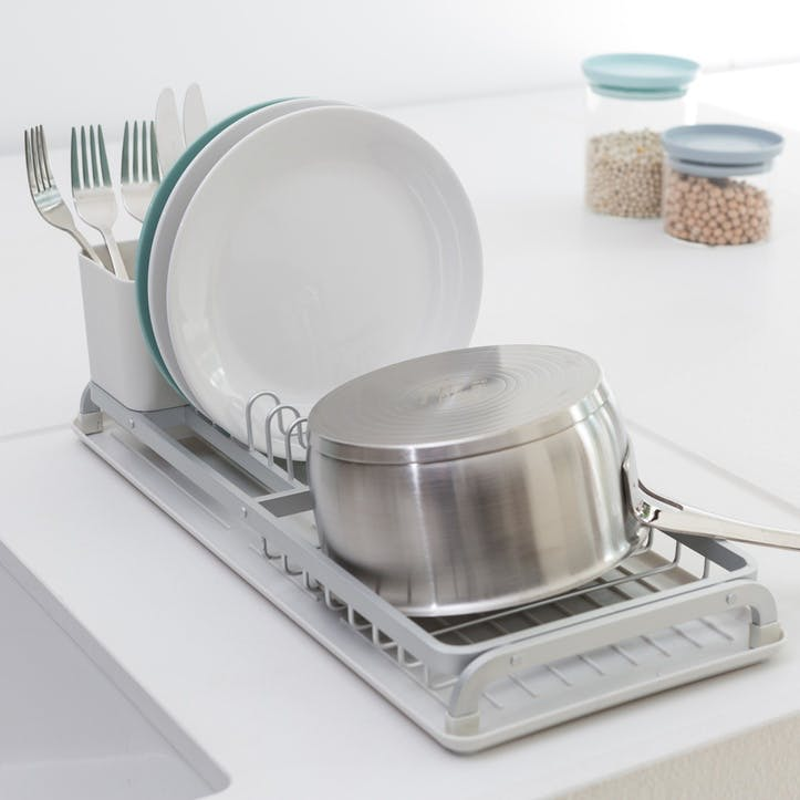 Compact Dish Drying Rack, Light Grey