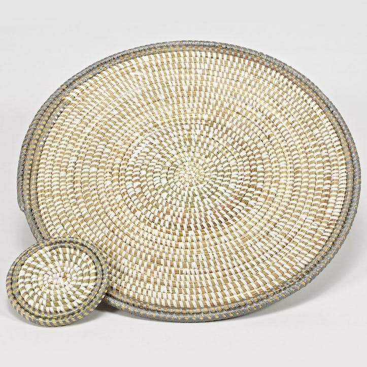 Handwoven Coaster, Natural/ Grey Rim