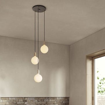 Canopy & Sphere Bulb Triple Ceiling Plate & Pendant Set L400 x W25cm Black & Brass