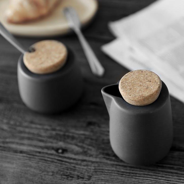 Nicola Milk & Sugar Pot Set, Charcoal