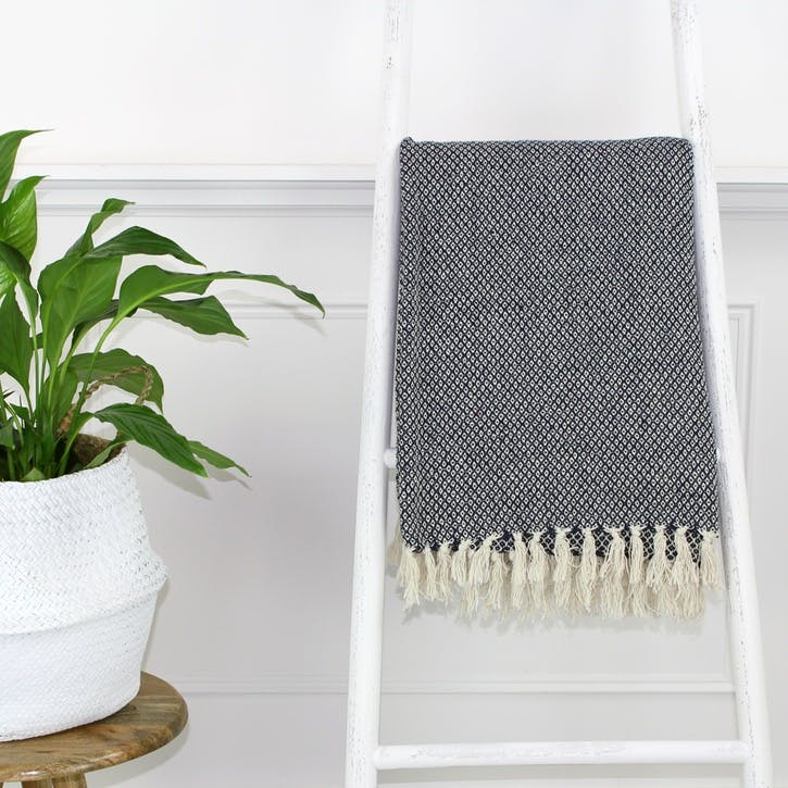 Patterned Tassel Edge Throw; Grey