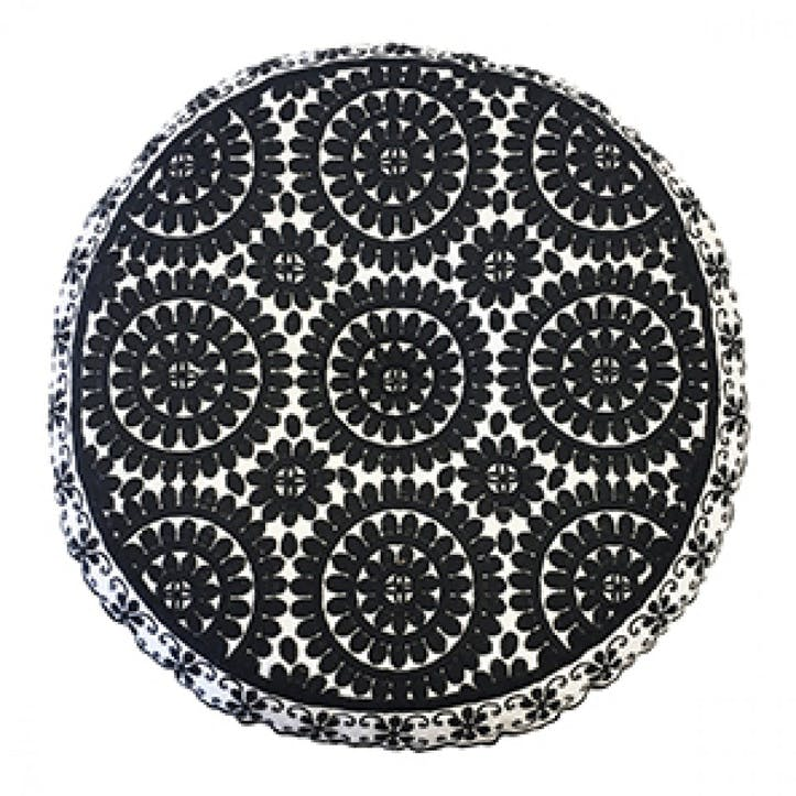 Souk Embroidered Cushions Round; Black