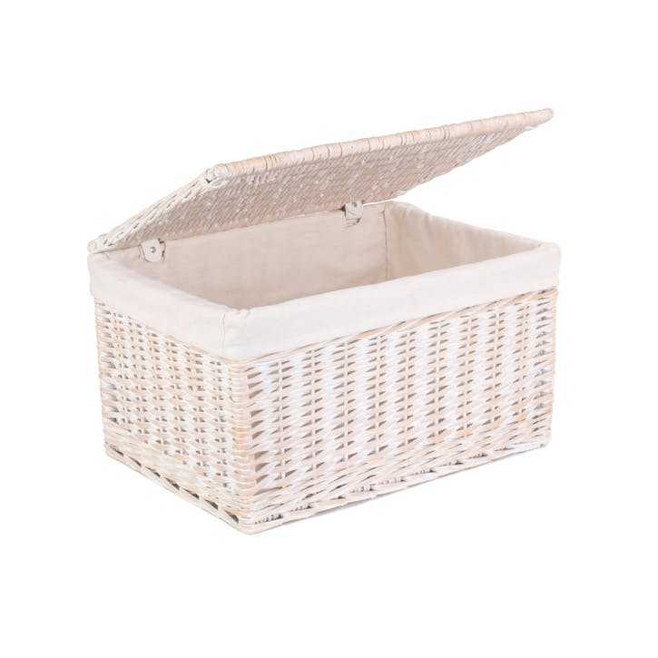 White Wash Lined Storage Hamper, Extra Large