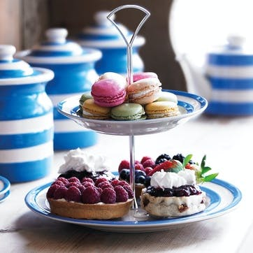 Cornish Blue Tiered Cake Stand