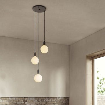 Canopy & Sphere Bulb Triple Ceiling Plate & Pendant Set L400 x W25cm Black & Graphite