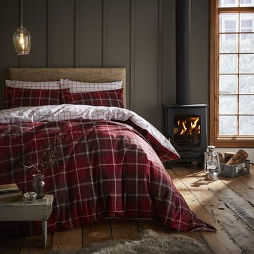 Brushed Tartan Check King Bedding Set, Red