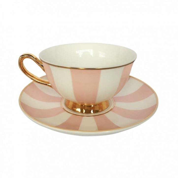 Stripy Tea Cup & Saucer, Pink, Gift Boxed
