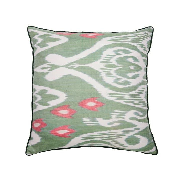 Green & Pink Silk Ikat Cushion, Square
