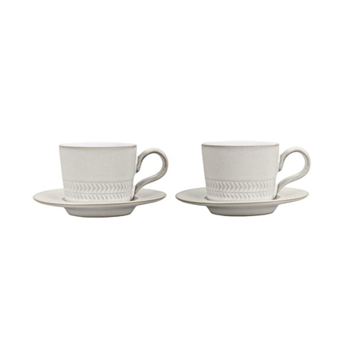 Natural Canvas Set of 2 Espresso Cups, 90ml, Cream
