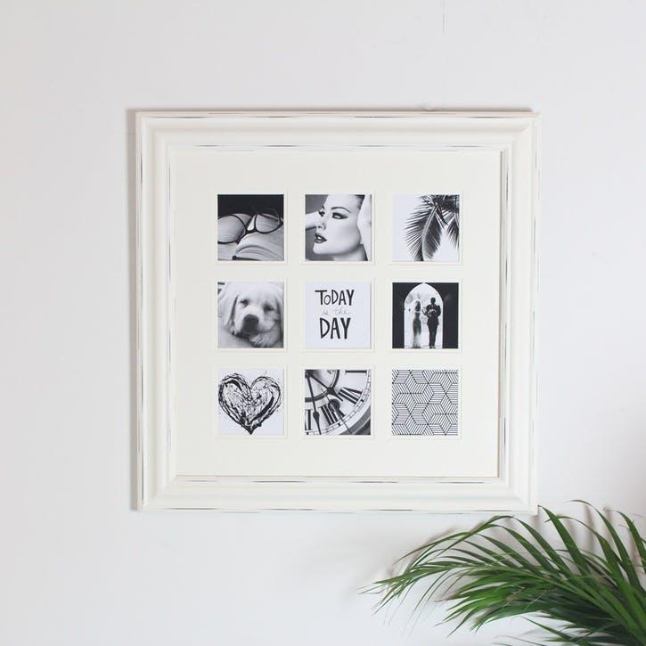 9 Aperture Photo Frame; White