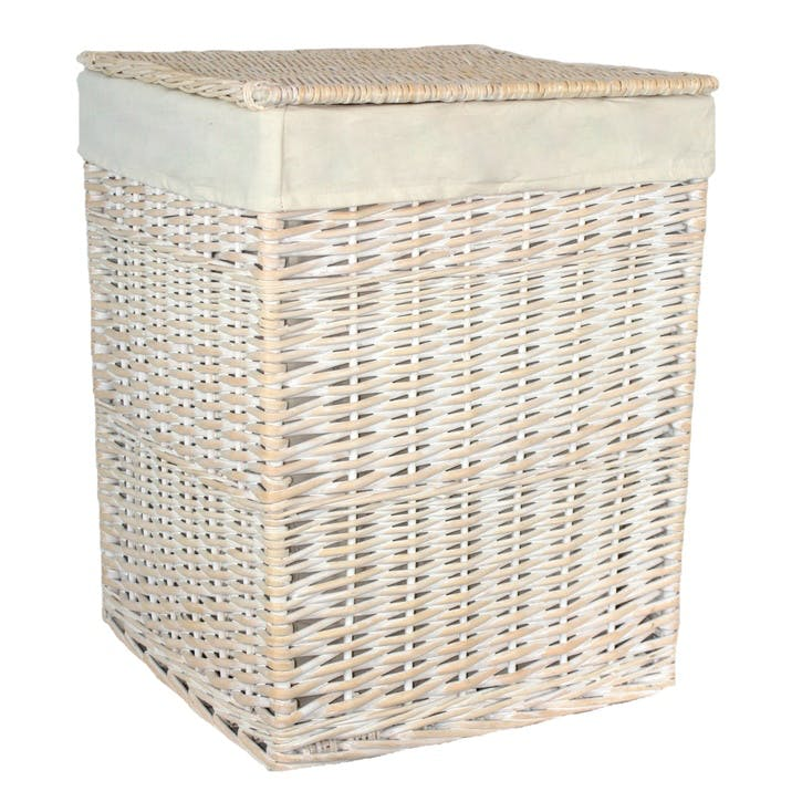 Square White Wash Laundry Hamper With White Lining, Large