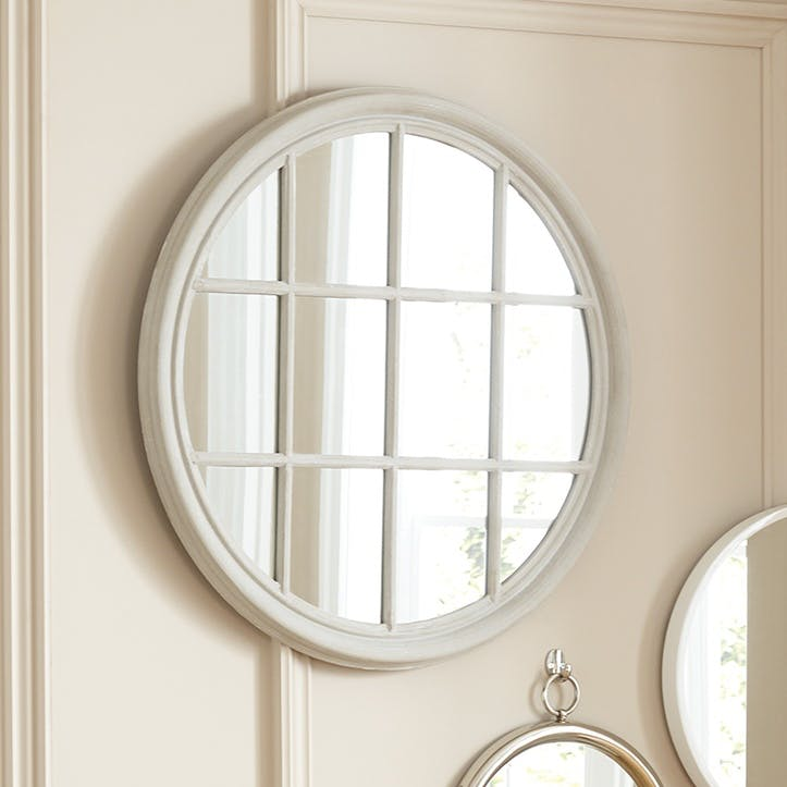 Round Panelled Mirror, Soft Grey