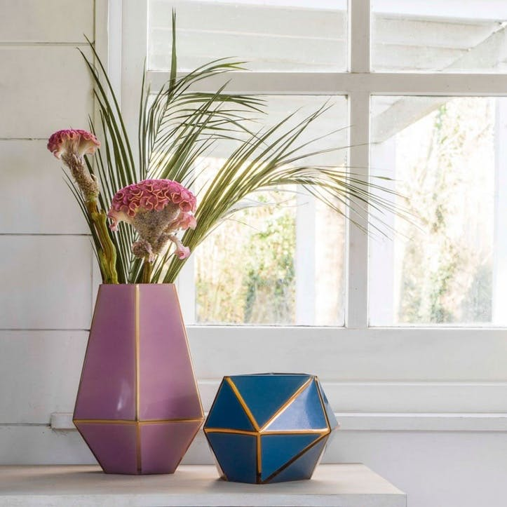 Tall Purple Geometric Vase