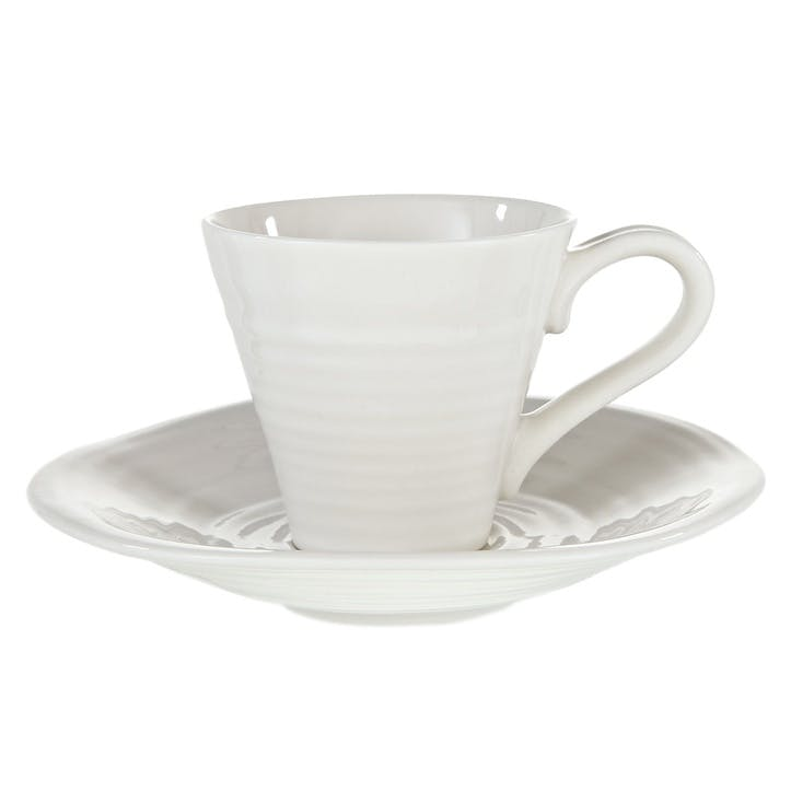 Espresso Cup & Saucers, Set of 2; White