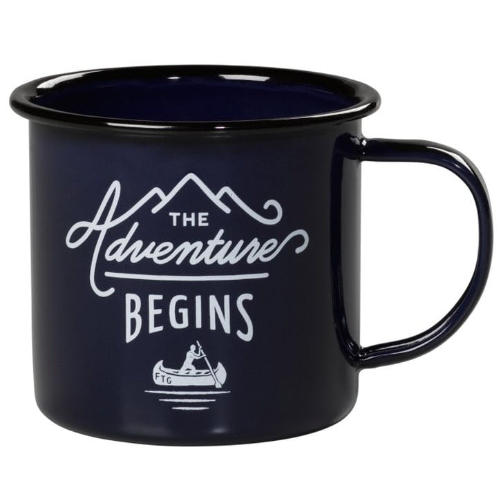 Adventure Begins Enamel Mug, Blue