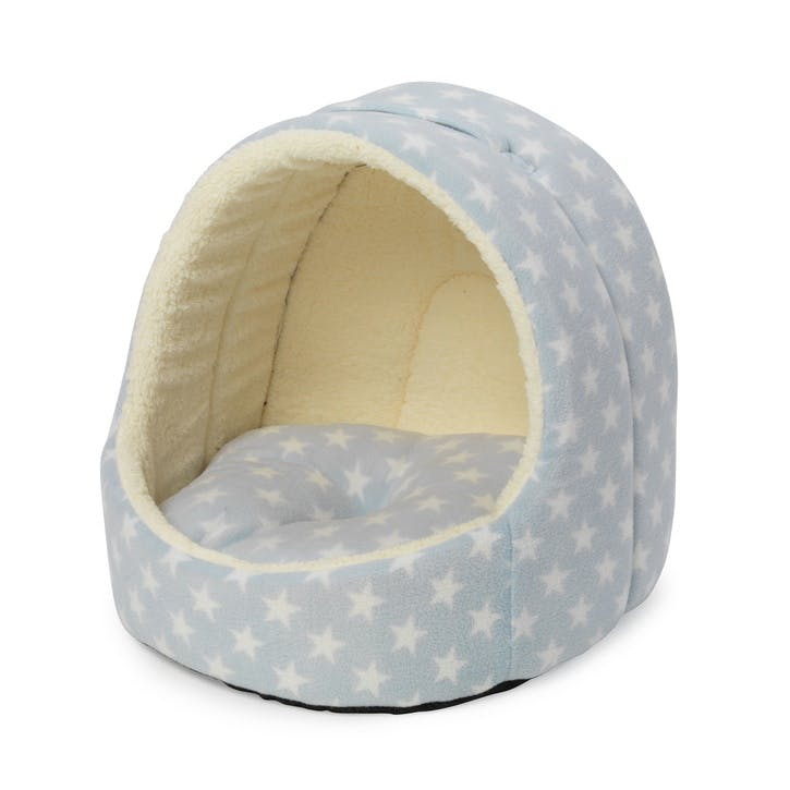Star Print Hooded Fleece Lined Pet Bed, Baby Blue