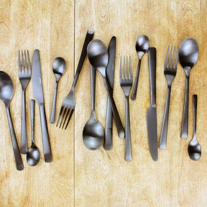 Matt Black Cutlery Set, 16 Pieces