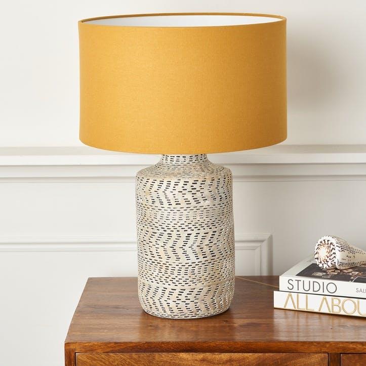 Monochrome Textured Stoneware Lamp