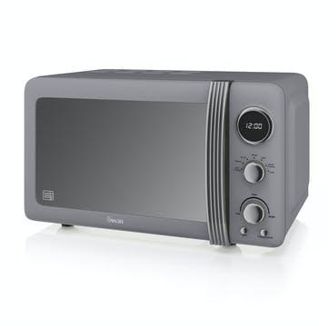 Retro 800W Digital Microwave, Grey