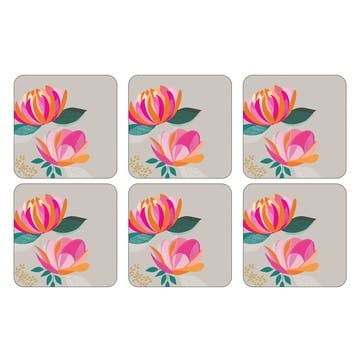 Peony Collection Coasters, Set of 6, Grey