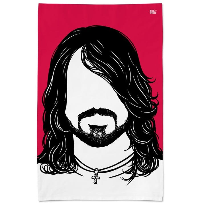 Icon 'Dave Grohl' Foo Fighters Tea Towel - 47 x 74cm; Red