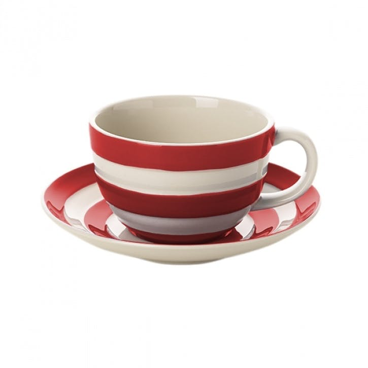 Set Of 4 Breakfast Cups & Saucers, 12oz/34cl, Red
