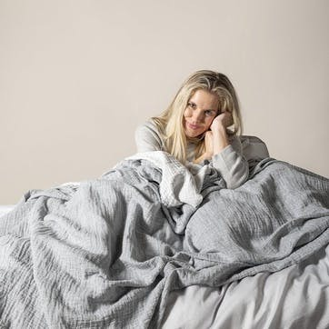 The Linen & Cotton Throw, One Size, Ink