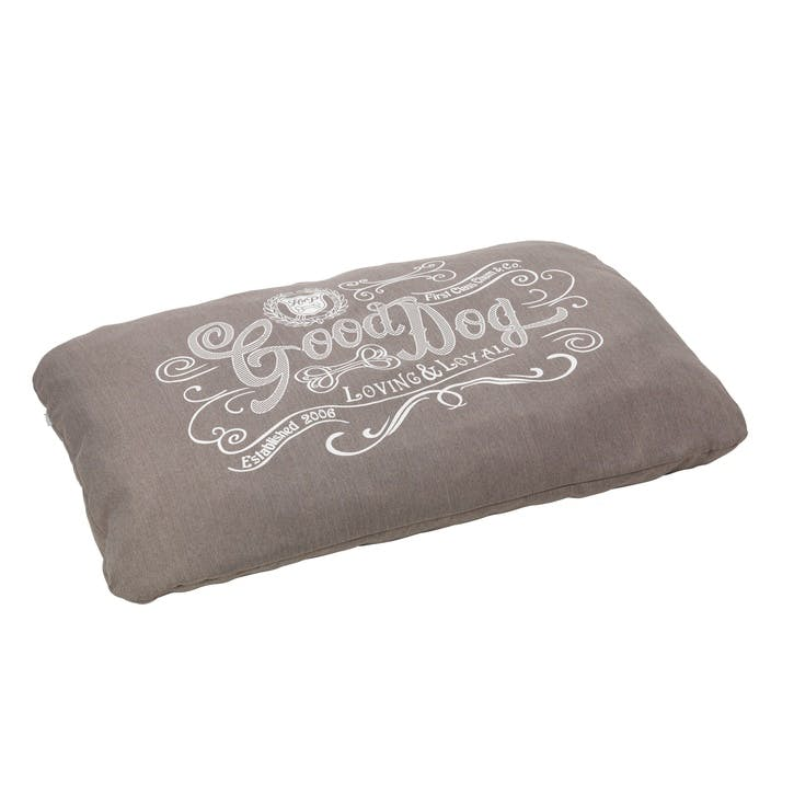 House Of Paws Good Dog Linen Cushion - Large/XL; Grey