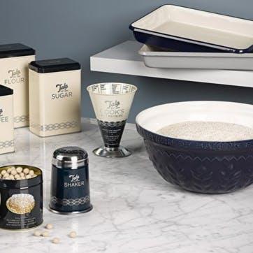 Indigo and Ivory Corn Mixing Bowl, 30cm